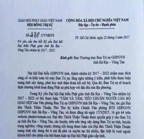 Ban Thường trực HĐTS nên thu hồi Công văn 286