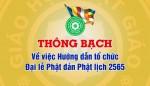 Thông bạch: Về việc Hướng dẫn tổ chức Đại lễ Phật đản Phật lịch 2565